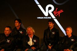 Nick Wirth, Technical Director with Lucas di Grassi, driver, Sir Richard Branson, Chairman of the Vi