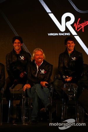 Lucas di Grassi, driver with Sir Richard Branson, Chairman of the Virgin Group and Timo Glock, drive