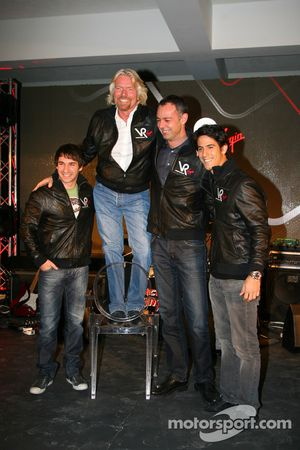 Timo Glock, driver with Sir Richard Branson, Chairman of the Virgin Group, Nick Wirth, Technical Dir