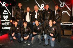 Luiz Razia, test driver with Nick Wirth, Technical Director, Timo Glock, driver, Alex Tai, Virgin Ra