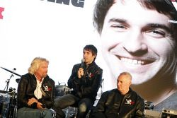 Sir Richard Branson, Chairman of the Virgin Group with Timo Glock, driver and John Booth, Sporting D
