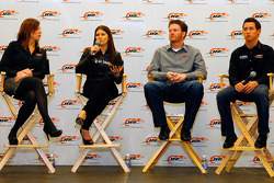 JR Motorsports co-owner and general manager Kelley Earnhardt, No. 7 NASCAR Nationwide Series GoDaddy.com Chevrolet driver Danica Patrick, JR Motorsports co-owner Dale Earnhardt Jr. and No. 88 NASCAR Nationwide Series Hellmann's Chevrolet driver Kelly Bire