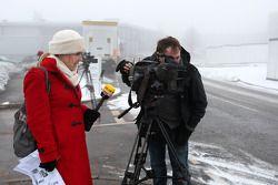 Media await news, Michael Schumacher logoing