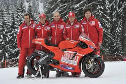 Claudio Domenicali, Nicky Hayden, Casey Stoner and Vittoriano Guareschi present the new Ducati Desmo