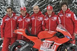 Claudio Domenicali, Nicky Hayden, Casey Stoner and Vittoriano Guareschi present the new Ducati Desmo