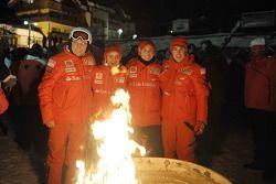Stefano Domenicali, Felipe Massa, Giancarlo Fisichella en Fernando Alonso