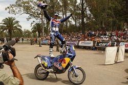 2010 Dakar Rally winner in the bikes category Cyril Despres celebrates