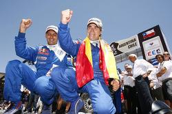 Cars podium: 2010 Dakar Rally winners in the cars category Carlos Sainz and Lucas Cruz Senra celebra