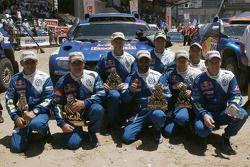 Podio de autos: los ganadores del Rally Dakar 2010 en la categoría de autos, Carlos Sainz y Lucas Cr