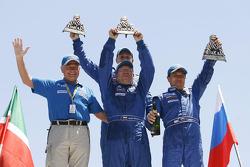 Trucks podium: second place Firdaus Kabirov, Aydar Belyaev and Andrey Mokeev