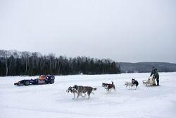 Sebastien Buemi im Formel-1-Auto von Red Bull Racing im Schnee am Circuit Gilles-Villeneuve in Montr