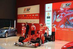 Felipe Massa, Fernando Alonso, Marc Gene, Giancarlo Fisichella and Luca Badoer unveil the Ferrari F1