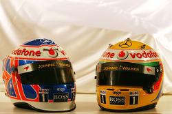Jenson Button, McLaren Mercedes and Lewis Hamilton, McLaren Mercedes helmets