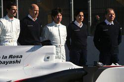 Pedro de la Rosa, Equipo BMW Sauber F1, Peter Sauber, Director de equipo, y Kamui Kobayashi, Equipo