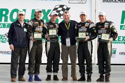 Victory lane: GT winners Jonathan Bomarito, Nick Ham, David Haskell and Sylvain Tremblay with Vic El