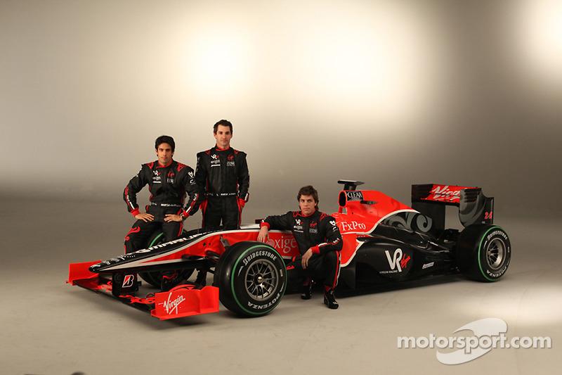 Timo Glock, Lucas di Grassi ve Alvaro Parente ve yeni Virgin Racing VR-01