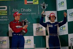 Davide Valsecchi celebrates on the podium with Giacomo Ricci