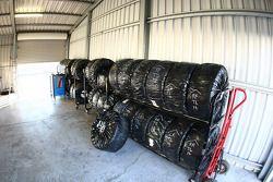 Racks of tyres