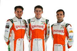 Adrian Sutil Force India F1 con Paul Di Resta, tercer piloto de Force India F1 y Vitantonio Liuzzi F