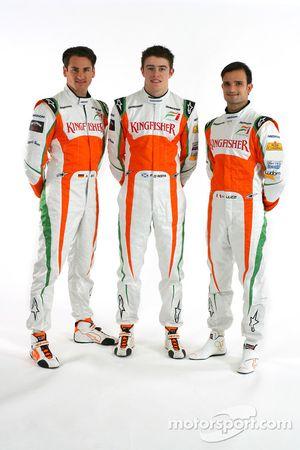 Адриан Сутиль, Force India F1, Пол ди Реста, третий пилот Force India F1 и Витантонио Льюцци, Force
