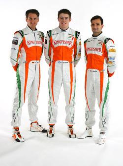 Adrian Sutil Force India F1 with Paul Di Resta Force India F1 Third Driver and Vitantonio Liuzzi Force India F1- Force India VJM03 studio shoot and Launch, Formula 1 Testing, Jerez, Spain