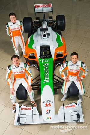 Adrian Sutil with Force India F1 team mate Vitantonio Liuzzi and Paul Di Resta Force India F1 Third
