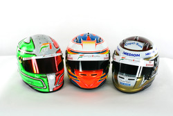 The helmets of Vitantonio Liuzzi Force India F1; Paul Di Resta Force India F1 Third Driver and Adrian Sutil Force India F1