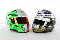 The helmets of Vitantonio Liuzzi Force India F1 and Adrian Sutil Force India F1