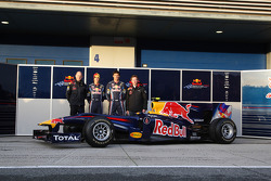 Adrian Newey, Red Bull Racing, Technical Operations Director with Sebastian Vettel, Red Bull Racing, Mark Webber, Red Bull Racing and Christian Horner, Red Bull Racing, Sporting Director