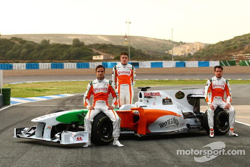 Vitantonio Liuzzi, Force India F1 Team; Paul di Resta, Force India F1 Team; Adrian Sutil, Force Indi
