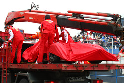Felipe Massa, Scuderia Ferrari car is brought back to the pits