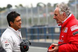 Indy Lall, Directeur des essais McLaren avec Mick Ainsley-Cowlishaw, Ferrari