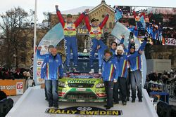 Podium: Mikko Hirvonen and Jarmo Lehtinen, Ford Focus RS WRC08, BP Ford Abu Dhabi World Rally Team