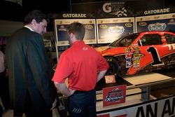 Champion's breakfast: 2010 Daytona 500 winner Jamie McMurray with NASCAR President Mike Helton