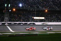 Jamie McMurray, Earnhardt Ganassi Racing Chevrolet lead Dale Earnhardt Jr., Hendrick Motorsports Chevrolet to the checkered flag