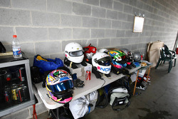 A selection of drivers helmets