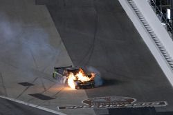 Robby Gordon, Robby Gordon Motorsports Toyota after a crash on the last lap