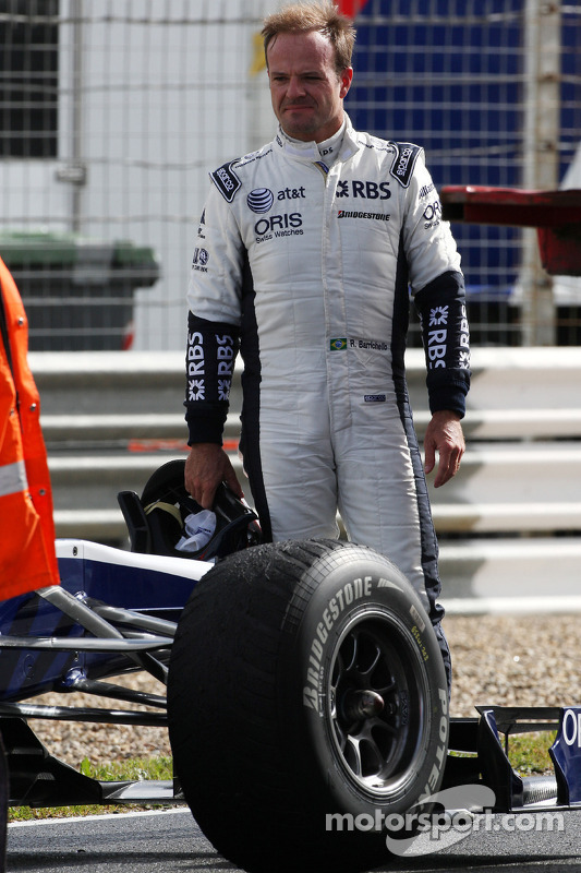 Rubens Barrichello, Williams F1 Team, stopt op circuit
