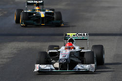 Michael Schumacher, Mercedes GP Petronas, W01 leads Fairuz Fauzy, Test Driver, Lotus F1 Team- Formula 1 Testing, Jerez, Spain