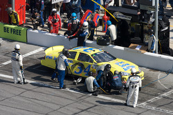 Tony Raines in the pits with damage