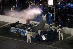 Rick Crawford in the pit for damage repair