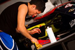 Daniel Zampieri works on his car