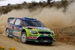 Mikko Hirvonen y Jarmo Lehtinen, Ford Focus RS WRC08, BP Ford Abu Dhabi World Rally Team