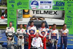 Podio: los ganadores Sébastien Loeb y Daniel Elena, Citroën C4, Citroën Total World Rally Team, segu