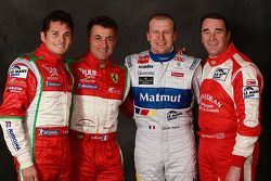 Giancarlo Fisichella, Jean Alesi, Olivier Panis en Nigel Mansell