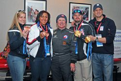Olympic 2-person bobsled bronze medla winners Erin Pac and Alana Meyers, driver and Bo-Dyn Bobsled Project leader Geoff Bodine, and two of the four 4-man bobsled gold medal winners Steve Holcomb and Steve Mesler