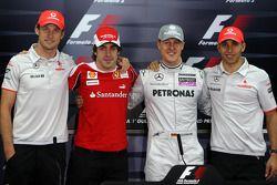 Дженсон Баттон и Льюис Хэмилтон, McLaren Mercedes, Фернандо Алонсо, Scuderia Ferrari, Михаэль Шумахер, Mercedes