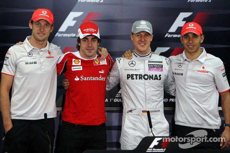 The 4 world champions, Jenson Button, McLaren Mercedes, Fernando Alonso, Scuderia Ferrari, Michael S