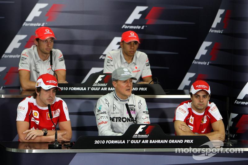 Фернандо Алонсо, Scuderia Ferrari, Дженсон Баттон, McLaren Mercedes, Міхаель Шумахер, Mercedes GP Petronas, Льюіс Хемілтон, McLaren Mercedes, Феліпе Масса, Scuderia Ferrari