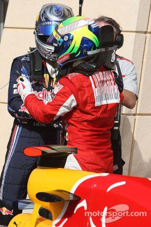 El piloto que logró la pole positon, Sebastian Vettel, Red Bull Racing y Felipe Massa, Scuderia Ferrari